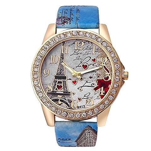 Best Deal Quartz Watch Women Fashion Tower Pattern Diamond Dial Watches Men Faux Leather Watch Women's Dress Clock Montre (Relojes Rolex Women)