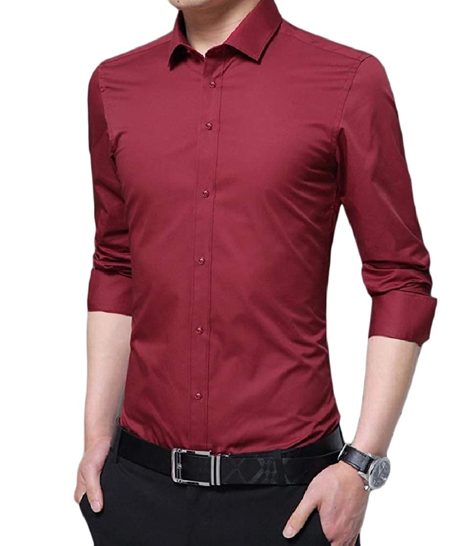 YUNY Mens Business Long-Sleeve Button Slim Fit Blouses and Tops Shirts Red 2XL