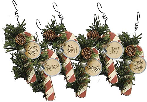 Wooden Candy Cane Ornaments - Set of 6 (6 Candy Cane Ornaments)