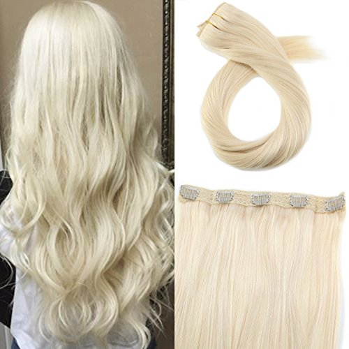 Moresoo Platinum Blonde Color #60 50 Grams One Piece 5 Clips in Human Hair Extensions Double Weft Really Human Hair Extensions 16 Inch One Piece Clip in Extensions