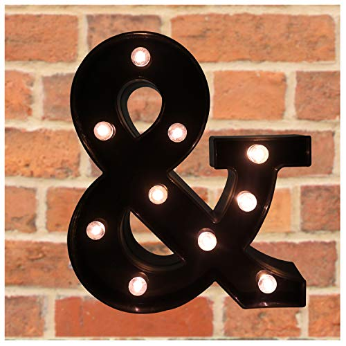 Pooqla Decorative LED Illuminated Letter Marquee Ampersand Sign - Alphabet Marquee Letters Ampersand with Lights for Wedding Birthday Party Christmas Night Light Lamp Home Bar Decoration &, Black