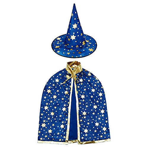 Wizard Costume For Girls (Jackcell Wizard Cape Witch Cloak with Hat, Halloween Costume Props for Kids Cosplay Party)