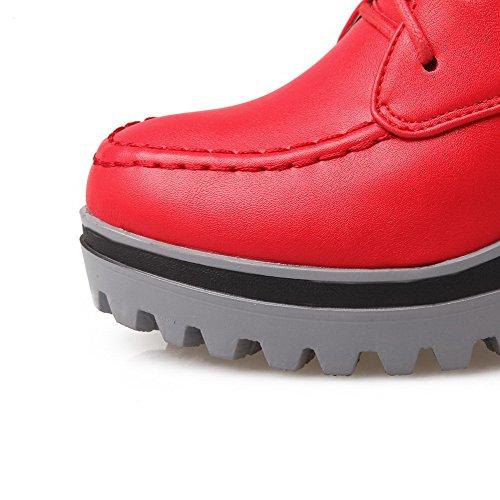 AllhqFashion Mujeres Sólido Tacón Alto Puntera Redonda Pu Cordones Botas Rojo