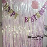 Best Selling Foil Fringe-Backdrop-12FTX8FT-Transparent White Tinsel Metallic Fringe Curtains Shinny Party Accessory(Pack of 4)
