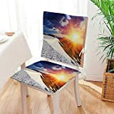 Mikihome 2 Piece Set Chair seat Pads Sunshine Clouds and Valley Sun Divider in College Dining Garden Patio Mat:W17 x H17/Backrest:W17 x H36