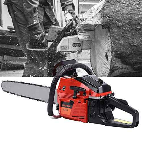 "Ridgeyard 22"" 52CC Professional 2-Stroke Petrol Chainsaw Wood Cutting Gasoline Chainsaw with Aluminum Crankshaft Powerful Chainsaw"