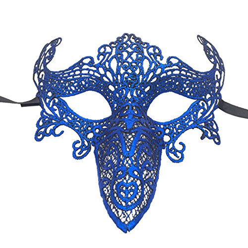 Funpa Lace Mask Party Cosplay Mask Breathable Long Nose Bird Shape Masquerade Costume Mask for -