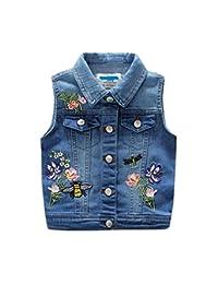 LJYH Kids Girls' Fashion Denim Flowers Butterfly Embroidery Outerwear Vest