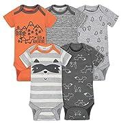 Gerber Baby Boys' 5-Pack Short-Sleeve Onesies,Sports,0-3 Months