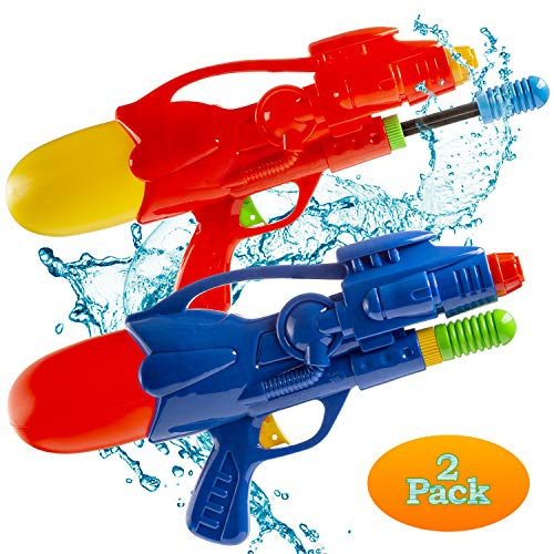 FAVONIR 2 Pack Water Gun Blasters - Party Favor 12.5 Pump Action Squirt Guns for Kids and Adults Summer Action Fun Toy - for Beach, Indoor and Outdoor Pool Activity