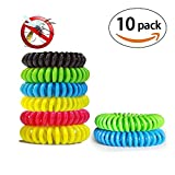 iWeller 10 Pack Natural Mosquito Repellent Bracelets Waterproof + 6 Travel Insect Control Patches to Stick on Clothing + Seal Bag|300 Hours Protection per Bracelet, No Deet for Baby Kids Adults.