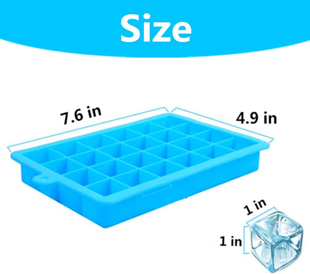 Blue-2pack Silicone Ice Tray Ice Cube Trays with Lid 48-Ice Trays for Stackable Flexible BPA Free