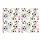 InterestPrint Grunge Seamless Print Soccer Ball Placemat Table Mats Set of 4, Heat Resistant Place Mat for Dining Table Restaurant Home Kitchen Decor 12''x18''