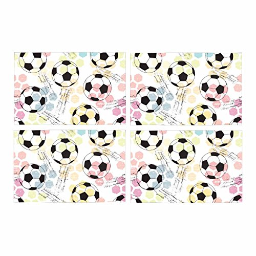 InterestPrint Grunge Seamless Print Soccer Ball Placemat Table Mats Set of 4, Heat Resistant Place Mat for Dining Table Restaurant Home Kitchen Decor 12''x18'' by InterestPrint