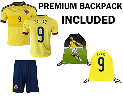 Columbia James #10 Falcao #9 Kids Youth 3 in 1 Soccer Gift Set ✓ Soccer Jersey ✓ Shorts ✓ Drawstring Bag ✓ Home or Away ✓ Short Sleeve or Long Sleeve (YM 8-10 years, FALCAO #9) ()