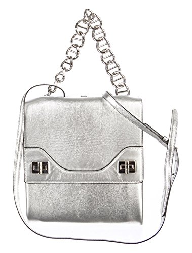 Prada Metallic Silver Leather Vitello Soft Chain Shoulder Bag - Outlet Prada Bags