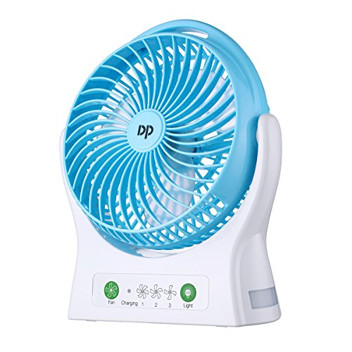 Miady 7.5-Inch Portable Fan Rechargeable Personal Desk Fan with 4000mAh Battery Capacity and LED Light by Miady