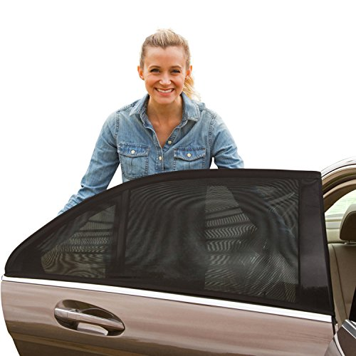 ShadeSox Universal Fit Car Side Window Baby Sun Shade (2 Pack) | Protects Your Baby and Older Kids from the Sun, Fits All (99%) Cars! Most SUVs! | Travel eBook Included! (Windows Screen Black)