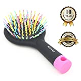 Hilinker Hair Brush - Detangle Hair Easily With No Pain - Good For Wet Or Dry Hair - Adults & Kids (Rainbow)
