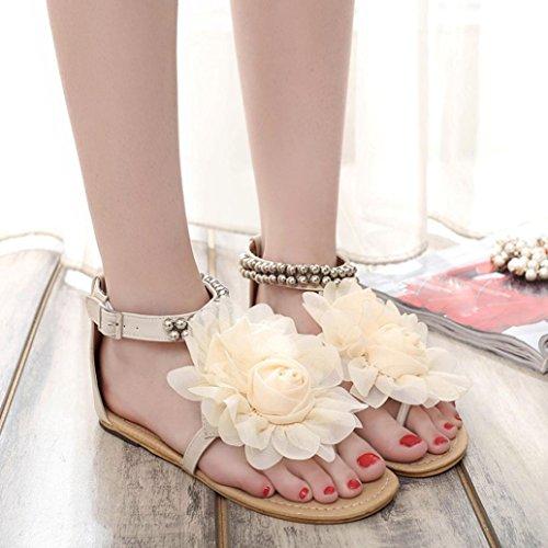 FEITONG Mujer Bohemia Rebordeado Verano Flor Plano Dar la vuelta Flops Zapatos de mujer Sandalias Beige
