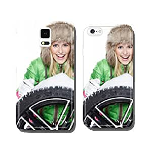 Woman with winter tyre cell phone cover case iPhone6