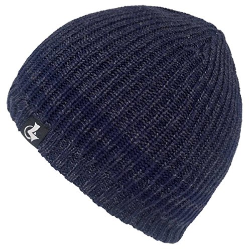 LETHMIK Merino Wool Skull Beanie,Mens Daily Warm Soft Winter Hat Stripe Mix Knit Cap Navy