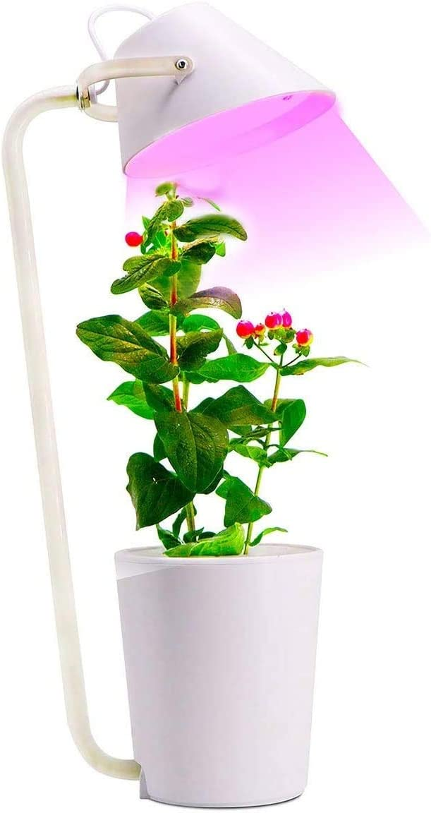 Hydroponics Growing System, Smart Garden with LED Grow Light Full Spectrum, Indoor Herb Garden and Reading Lamp 2 in 1, White, 1 Pot