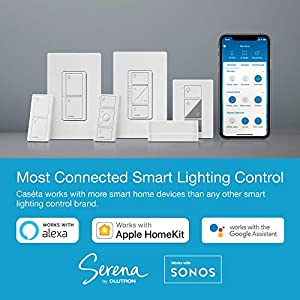 Lutron Caseta Smart Start Kit, Dimmer Switch (2 Count) with Smart Bridge and Pico remotes, Works with Alexa, Apple HomeKit, and the Google Assistant | P-BDG-PKG2W-A | White