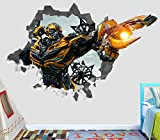 Transformers Bumblebee Attack Wall Decal Smashed 3D Sticker Vinyl Decor Mural Movie - Broken Wall - 3D Designs - OP340 (Large (Wide 40'' x 36'' Height))