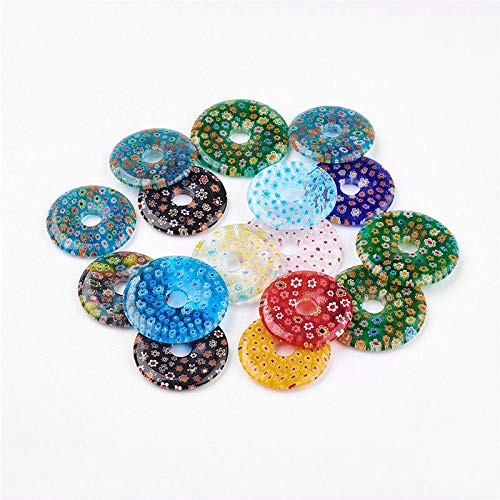 5 Pcs Flat Round Handmade Millefiori Glass Pendants Beads 34~39x4~4.5mm Hole 8mm