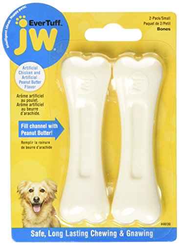Tuff Peanut Butter - JW Pet Company 46130 EverTuff 2-Pack Bone Chicken and Peanut Butter Flavored Chew Toy Pets, Small, White