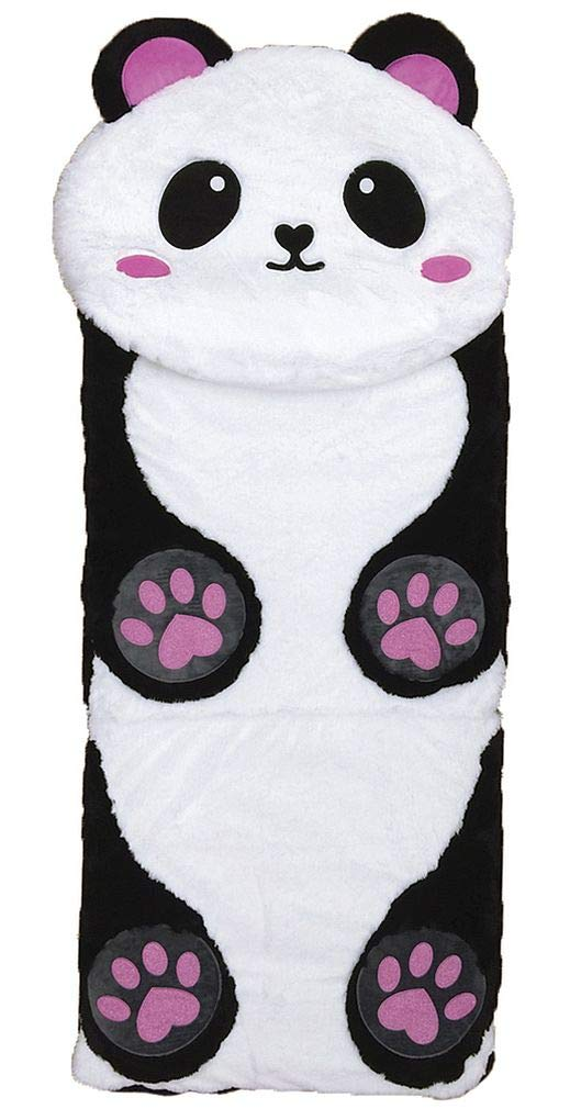 iscream Furry Panda 73'' x 25'' Faux Sherpa-Lined Plush Fleece Zippered Sleeping Bag by iscream