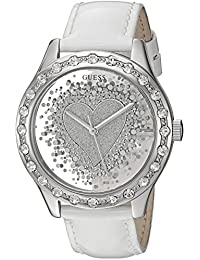 GUESS Women's U0909L1 Trendy Silver-Tone Watch with Silver Dial , Crystal-Accented Bezel and Genuine Leather Strap Buckle