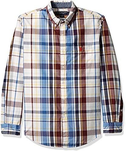U.S. Polo Assn. Mens Long Sleeve Classic Fit Plaid Poplin Button Down Collar Sport Shirt