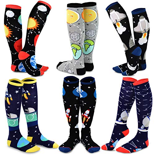 TeeHee Novelty Cotton Knee High Fun Socks 6-Pack for Women (Galaxy) (Pencil Socks High Knee)