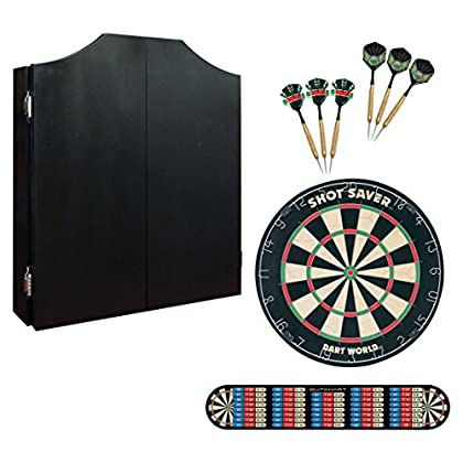 Image of Black Cabinet Darts Kit with Tournament Quality Shot Saver Dartboard, 2 Sets of Brass Darts, and Outchart Throwline #47239 Cabinets