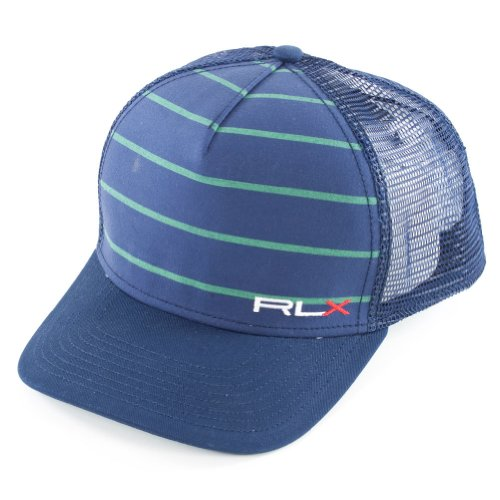 Polo Ralph Lauren - Men`s Mesh Back Sports Cap Navy and Green - (57449AAOGS-14) - Stretch Mesh Back - Rlx Logo - Great Style And - Return Ralph Policy Polo Lauren