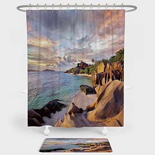 Seaside Decor Shower Curtain And Floor Mat Combination Set Tropical Rock Sandy Beach at Sunset in Island with Majestic Sky Light Art on Earth Photo For decoration and daily use Cream Blue ()