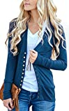 NENONA Women's V-Neck Button Down Knitwear Long Sleeve Soft Basic Knit Snap Cardigan Sweater(Navy Blue-S)