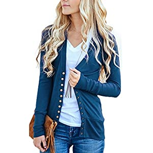NENONA Women's V-Neck Button Down Knitwear Long Sleeve Soft Basic Knit Cardigan Sweater
