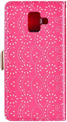 Herbests Kompatibel mit Samsung Galaxy A6 2018 Handy Hülle Multifunktionale Reißverschluss Tasche Blumen Flip Case Brieftasche Schutzhülle Klapphülle Handschlaufe Kartenfach Magnet,Schwarz