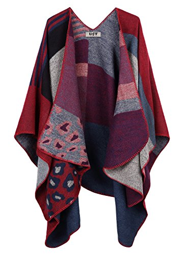 DJT Womens Color Blanket Poncho