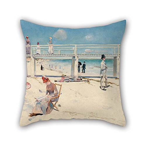 - Bestseason 16 X 16 Inches / 40 By 40 Cm Oil Painting Charles Conder - A Holiday At Mentone Pillow Covers ,each Side Ornament And Gift To Home Office,bar,boy Friend,car,kitchen,bench
