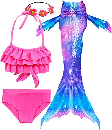 4 PCS Girls Swimsuit Mermaid Tail for Swimming Kids Mermaid Swimwear Set Bathing Suit Princess Costumes (10-12/Ht 55-60in/Tag 150, A- Glamour Purple)]()