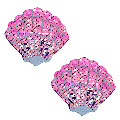 Neva Nude My Lil Pony Pink Sequin Mermaid Shell Nipztix Pasties Nipple Covers -