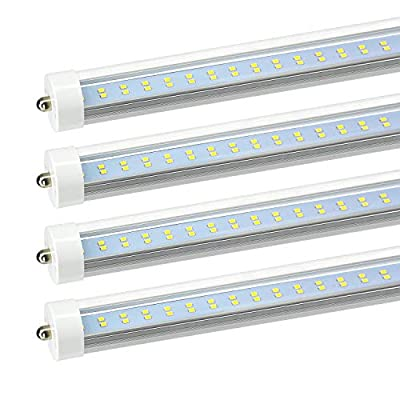 """JESLED T8 T10 T12 8ft LED Tube Light, Single Pin Fa8 Base, 8 ft LED Bulbs, 50w, 5000k Daylight, 6000lm (100-130w Equivalent), 96"""" Dual Row LED Replacement for 8Foot Fluorescent Fixtures (Pack of 4)"""
