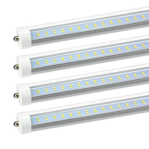 JESLED 8ft LED Tube Light - Single Pin Fa8 Base, T8 T10 T12 8 ft LED Bulbs, 50w, 5000k Daylight, 6000lm (100-130w Equivalent), 96