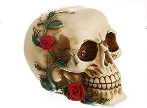 Funnuf Ghost Whisper Souls Skull Statue Skeleton Graveyard of Craniums Figurine Sculpture, Skull with Red Rose, 4.72 Inch