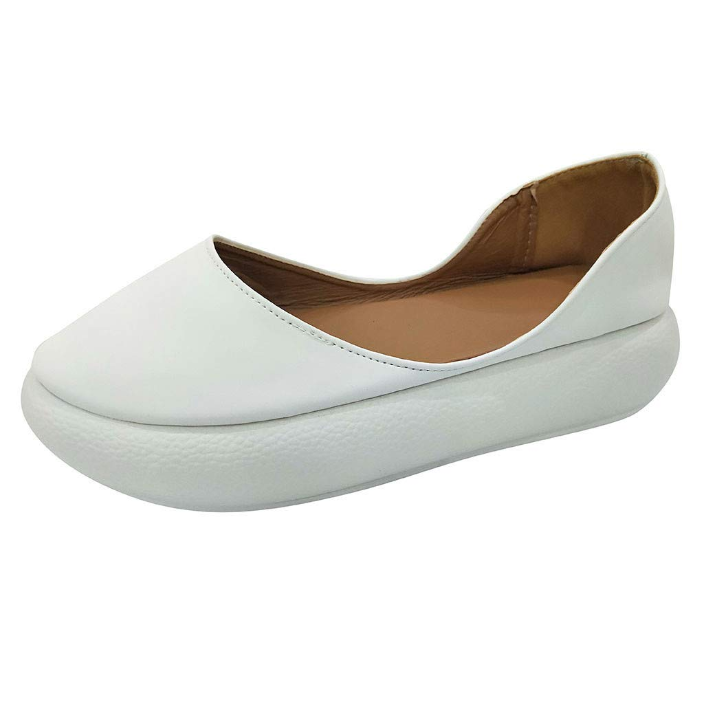 Kauneus Women Round Toe Platform Slip-on Loafers Comfort Leather Casual Shoes Wedge Walking Shoes White by Kauneus Fashion Shoes