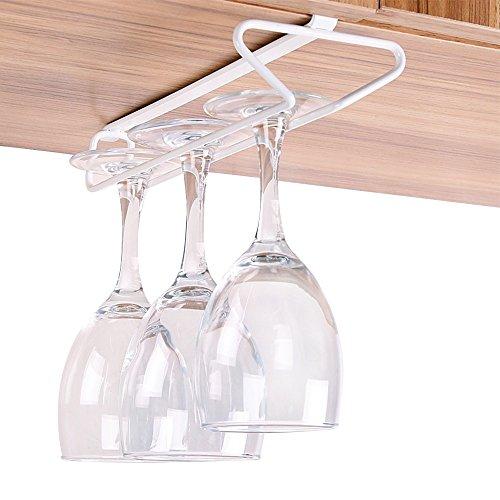 White Wine Stemware (GeLive Under Cabinet Wine Glass Rack Hanger Stemware Holder Kitchen Bar Organizer)